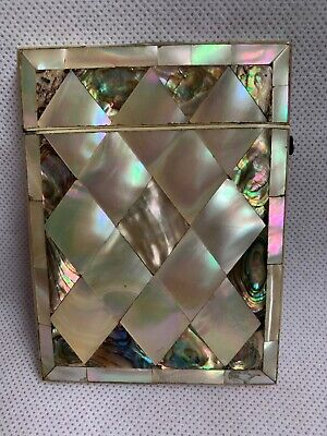 Mother of pearl & abalone shell vintage Victorian antique card case box