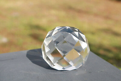 Round Faceted Crystal Cut Large Facet Geodesic Bright Nice Ball Gift Estate DR