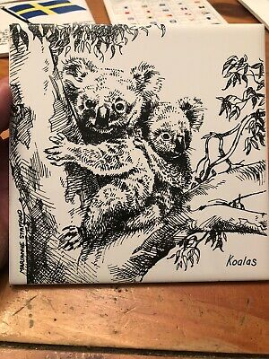 Vintage Decorative Ceramic Tile Trivet Australia Koalas Marrianne Stafford