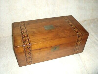 Antique Victorian Tunbridge ware writing slope wooden box 45cm Large