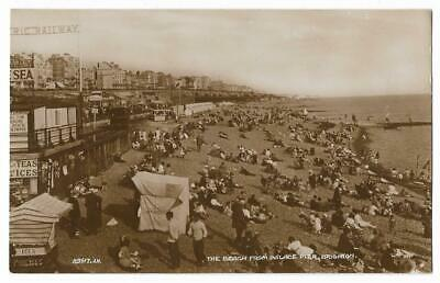 The Beach From Palace Pier BRIGHTON Real Photographic Postcard