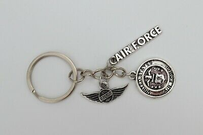 AIR FORCE [Pilot Flight] United States Military Silver Metal Charm Keychain USA