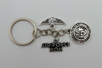 AIR FORCE MOM [Pilot] United States Military Silver Metal Charm Keychain USA