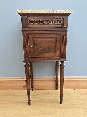 Antique Victorian Bedside Pot Cupboard French Style Marble Top Old Wood Vintage