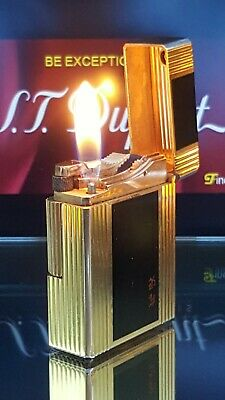 ST DuPont Lighter Black Gold Line 1 Small Functional Serviced Warranty Excel X45
