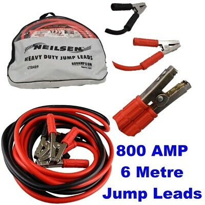 Jump Leads Booster Cables Neilsen Heavy Duty 6 meter 20 ft 800 Amp CT0409