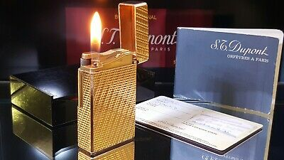 ST DuPont Lighter Gold Line 1 Large Functional Serviced Warranty Box Papers X39