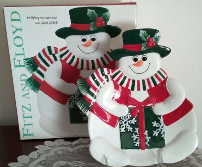 Fitz and Floyd Holiday SNOWMAN CANAPE PLATE ~ New In Box