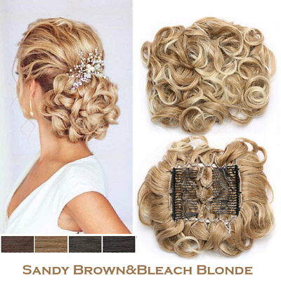 Large Thick Comb Clip Chignon Hair Extension Curly Messy Bun Updo Brown&Blonde H