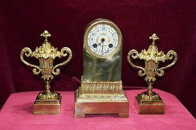 Antique Victorian Solid Brass Mantle Clock & Urn Garnitures