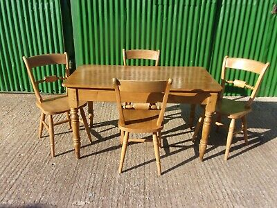 Antique pine dining table and four beech country chairs