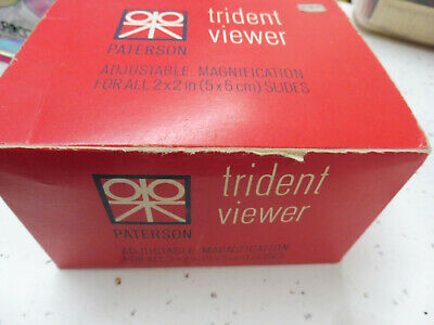 """Vintage PATERSON TRIDENT SLIDE VIEWER Magnification of 2"""" x 2"""" (5x5cm) BOXED"""