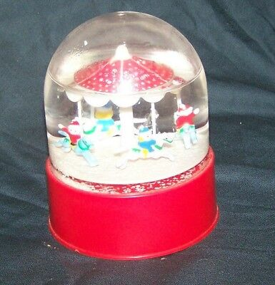 Carousel with Horses & riders Water globe Music Box w/ Red Plastic Base