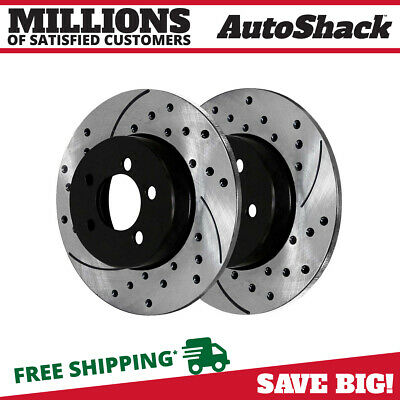 Rear Pair (2) Drilled Slotted Brake Rotors 5 Stud Fits 06-17 2018 Dodge Charger