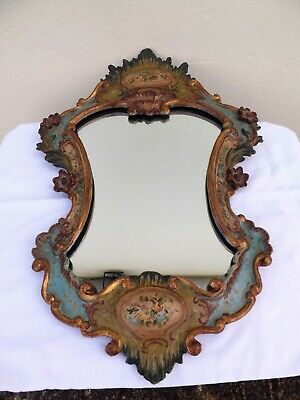 Antique Italian Carved Giltwood & Painted Rococo Mirror Stunning