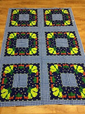 Vintage Collectable Retro Pretty Strawberries Tablecloth