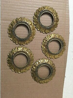 Lot Of 5 Antique Cast Brass Or Bronze Chandelier Bobeche Rings