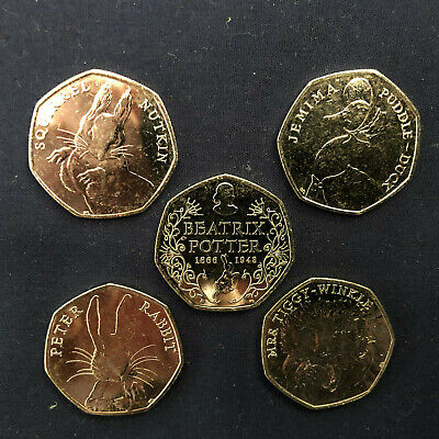 Uncirculated Beatrix Potter 2016 50p set of 5 coins, including Jemima Puddleduck