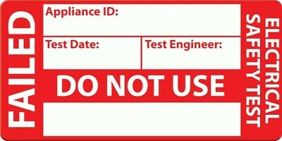 Vinyl Stickers PAT Safety Test FAILED Red 250