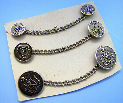 RETIRED Vintage NOS Silver Tone Metal Chain Buttons on Card Coat of Arms