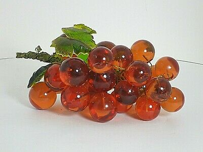 """Grapes Cluster Acrylic Orange 1-1/2"""" to 2"""" w 3 Plastic Molded Leaves 12""""x6"""""""