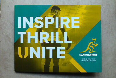 2019 $2 Wallabies Rugby World Cup Two Dollars Coin Unc In Folder .