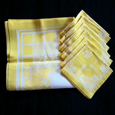 Damask Cloth Tablecloth & 6 Napkins Yellow Vintage 1960s Pastel Cotton Floral