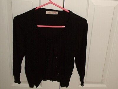 ALANNAH HILL BLACK CARDIGAN SIZE 8 euc covered buttons,beaded,  lace inserts