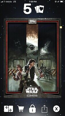 Topps Star Wars Card Trader Illustrated Red Han & Leia CTI
