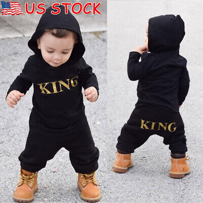 Newborn Toddler Infant Baby Boy Kid King Romper Jumpsuit Bodysuit Clothes Outfit