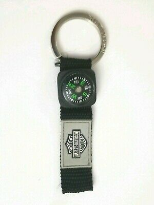 Harley Davidson Motor Cycle Black Canvas Strap Compass Keychain Key Fob