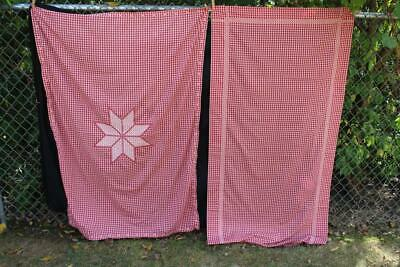 2 Vintage Red Gingham Checkered Tablecloths Embroidered Star Center