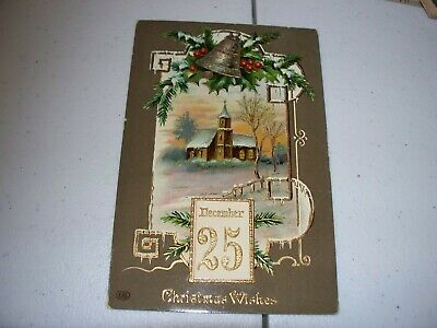 Vintage antique postcard CHRISTMAS church scene bell & holly foreign card