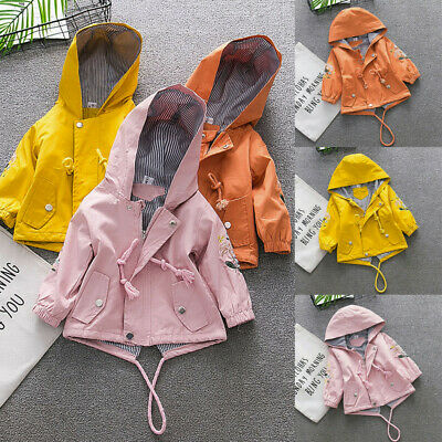 Toddler Baby Kids Girls Soft Floral Hooded Windproof Coat Outwear Casual Clothes