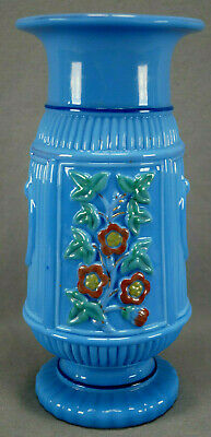 Late 19th Century Vallerysthal Portieux French Blue Molded Floral Opaline Vase