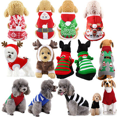 Pet Dog Christmas Costume Outfit Hoodie Jumpsuit Cat Xmas Jacket Sweater Jumper