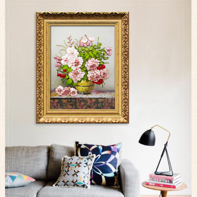 65X50cm 3D Roses Flowers Ribbon Embroidery Cross Stitch Kit for DIY Home Decor