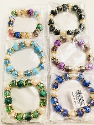 Wholesale 12pcs Lots Mix Colors RhineStone Beads Charms Bracelets Bangle Sets