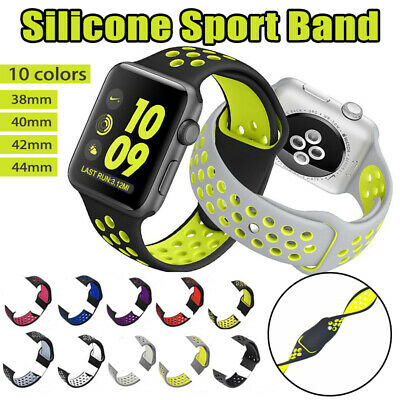 Sport Silicone Strap iWatch Band for Apple Watch Series 4 3 2 1 38mm 42mm 40 44
