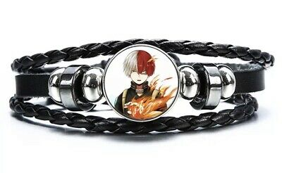 "My Hero Academia Shoto Todoroki Anime Bracelet Leather 8"" US Seller"