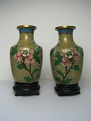 2 CHAMPLEVE ENAMELED VASES CLOISONNE ENAMEL VASES on STANDS China ca1900s AS-IS