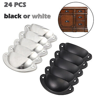 24 PCS Antique Cup Pull Cabinet Handle Cupboard Drawer Shell Pull black/white