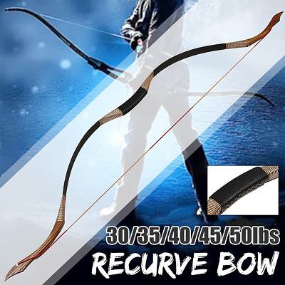 30-45LBS Handmade Hunting Traditional Recurve Bow Longbow Horse Riding Archery