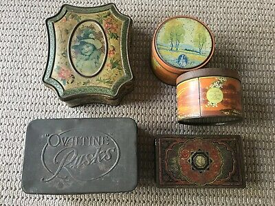 ANTIQUE TINS: collection of six old tins