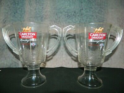 2 Carlton Draught AFL Plastic Premiership Cups 425ml