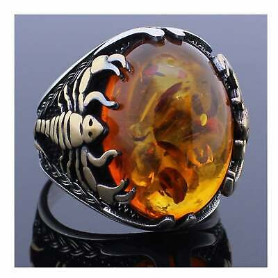 Golden Scorpion Design 925 Sterling Silver Amber Stone Men's Woman's RING