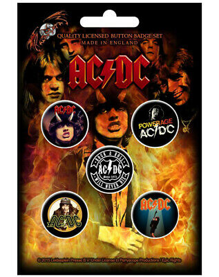 AC/DC Highway To Hell 5 Button Set Badge Pack Rock Metal Badges Official New