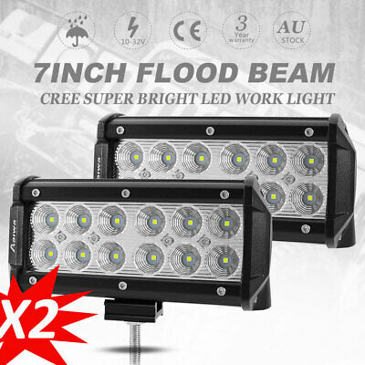 2X 7 inch 240W CREE LED Light Bar Flood Beam Offroad Driving Work Lamp 4WD Truck