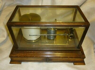 Good Looking Antique Oak Cased Barograph With Drawer