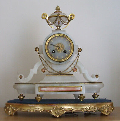 Exquisite Antique 19th c French Gilt Brass & Marble Portico 8 Day Mantel Clock